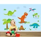 ufengke® Jurassic Park Cartoon Dinosaur Trees Wall Decals, Children's Room Nursery Removable Wall Stickers Murals