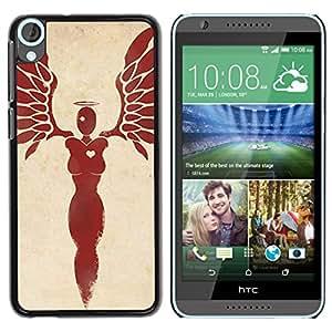 GOODTHINGS Funda Imagen Diseño Carcasa Tapa Trasera Negro Cover Skin Case para HTC Desire 820 - alas del ángel de la sangre del corazón plumas