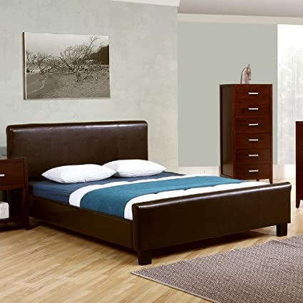 Amazon.com: Paramount Queen Size Bed Frame Chocolate Brown Faux