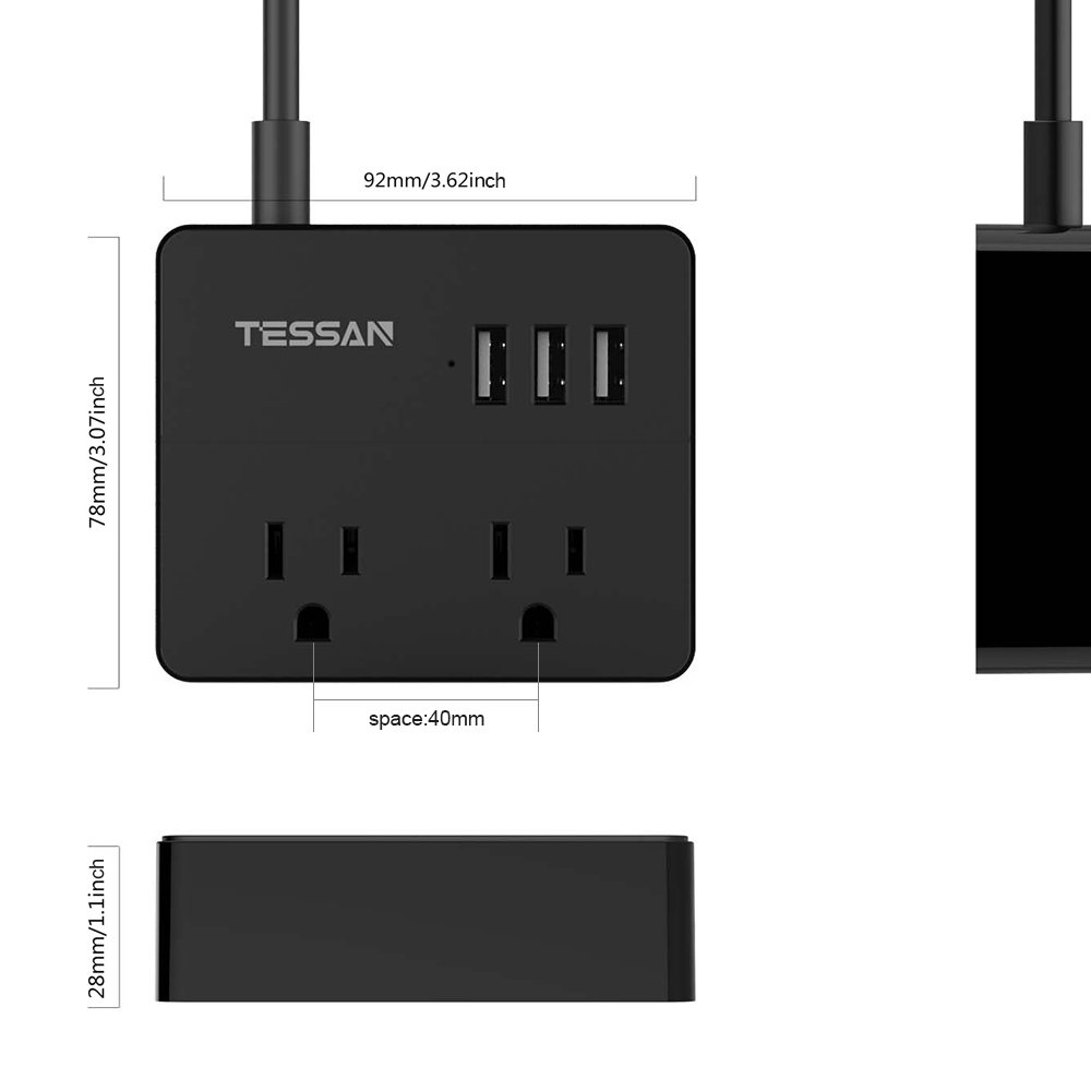 TESSAN Portable 2 Outlet Travel Power Strip with 3 USB Ports Charging Station 5 Ft Cord-BLACK by TESSAN (Image #5)