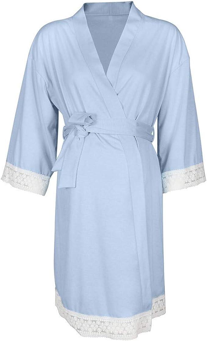 QinMM Vestido de Lactancia Maternidad de Noche Camisón Mujeres Embarazadas Ropa de Dormir Premamá Pijama Encaje Bata de baño: Amazon.es: Ropa y accesorios