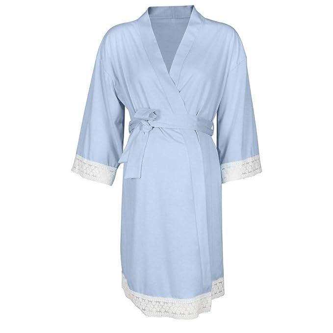 STRIR Vestido de Lactancia Maternidad de Noche Camisón Mujeres Embarazadas Ropa de Dormir Premamá Pijama Otoño