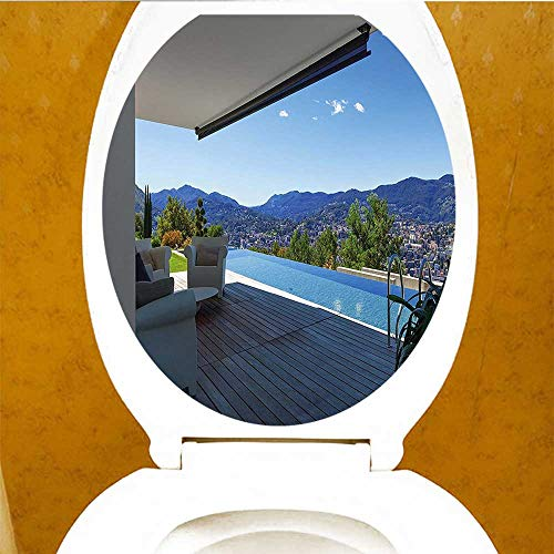 PRUNUS Decal Wall Art Decor Luxury Modern Summer House Mountain Scenery Pool White Light Brown W13 x L13 by PRUNUS (Image #1)