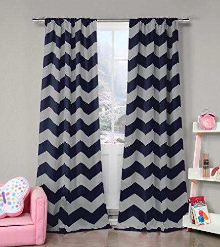 Navy Blue and Grey Chevron Print Insulated Energy Saving Blackout Window Pole Top Curtains 37 inch Wide by 84 Long (Assorted Colors) Set of 2 Panel Room Darkening Drapes