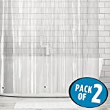 Tall Shower Curtain mDesign Extra Long Waterproof, Mold/Mildew Resistant, Heavy Duty Premium Quality 4.8-Guage Vinyl Shower Curtain Liner for Bathroom Shower Stall and Bathtub - 72