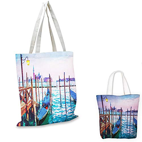 (easy shopping bag Venice Dreamy Evening View of Famous Italian City Architecture Water and Gondolas Lilac Blue Brown zipper tote)