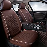 INCH EMPIRE Easy to Clean PU Leather Car Seat Cushions 5 seats Full Set - Anti-Slip Suede Backing Universal Fit Car Seat Covers for Both Fabric and Leather Car Seats