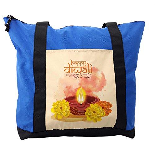Lunarable Diwali Shoulder Bag, Happy Asian Cartoon Design, Durable with Zipper by Lunarable