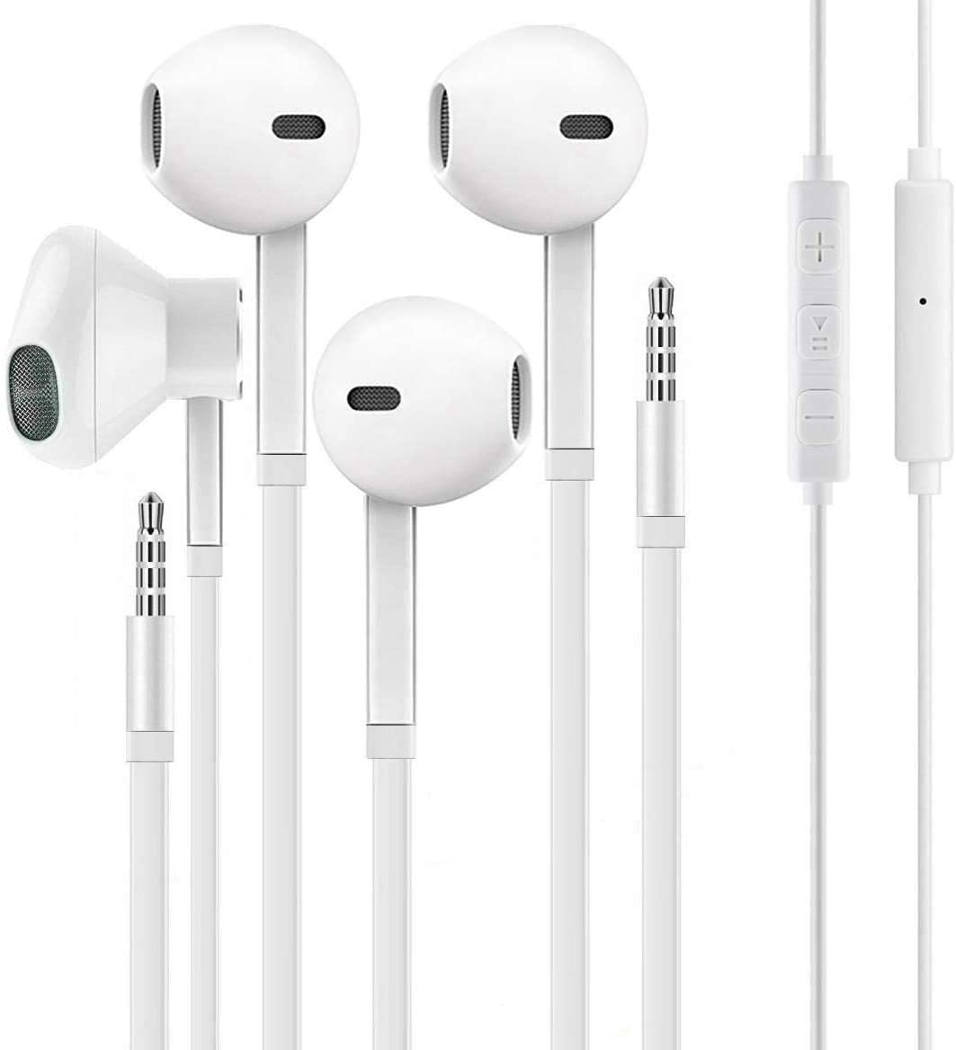 (2 Pack) Aux Headphones/Earbuds 3.5mm Wired Headphones Noise Isolating with Built-in Microphone & Volume Control Compatible with Apple iPhone 6 SE 5S 4 iPod iPad Samsung/Android MP3