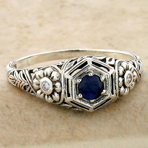 Genuine Sapphire Nouveau Antique Style 925 Sterling Silver Ring Size 10 KN-1097