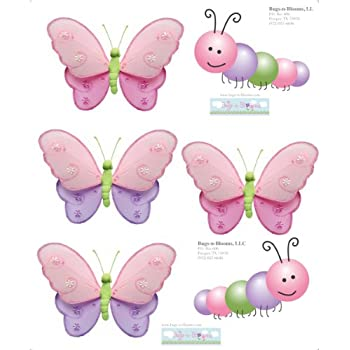 Caterpillar Butterfly Wall Decal Stickers Pink Purple Green Butterflies  Caterpillars Mural Vinyl Sticker Decals Children Nursery Part 57