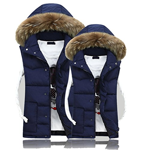 Blue Classico Sleeveless Hooded Winter Dark Waistcoat Detachable Vests Zhhlaixing Mens Hat Coats UwPPt