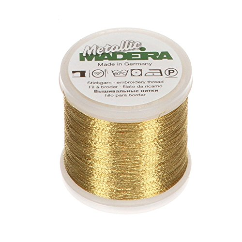 Tacony Corporation Madeira Metallic Thread 200 Meters-Medium Gold (Gold Metallic Thread)