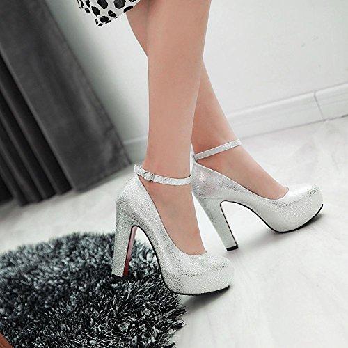 Latasa Mujeres Fashion Platform Tacón Alto Correa De Tobillo Vestido Bombas Zapatos Blanco