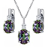 6.98 Ct Green Mystic Topaz White Topaz 925 Sterling Silver Pendant Earrings Set