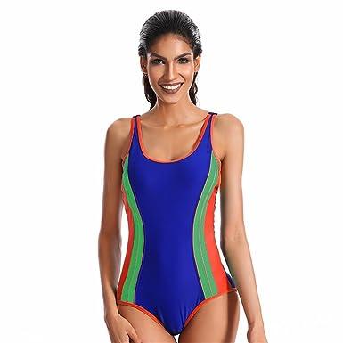 KEHUASHINA Plaid Sexy One Piece modèle de grille pour femmes Athletic One Piece Maillot de bain de plage été BLEU L Commercialisables En Ligne NsqBQz7amf
