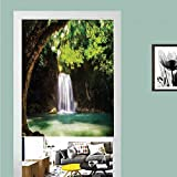 SCOCICI 3D Printed Magic Stickers Door Curtain,Waterfall,Waterfall Flowing to Lake Deep Down in The Forest Warm Paradise Photo,Green Brown White,Privacy Protect for Kitchen,Bathroom,Bedroom(1 Panel)