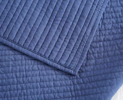 Style Homes 3-Piece Luxury Quilt Set with Sham(s), Ultra Soft Microfiber Bedspread and Coverlet with Half inch Channel Stitch Design, Oversized, King, Blue Indigo by Style Homes (Image #6)