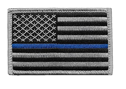 Pennant Patch - US Flag Thin Blue Line Patch for Police and Law Enforcement with Hook/Loop Backing (3.5x2.25 in.)
