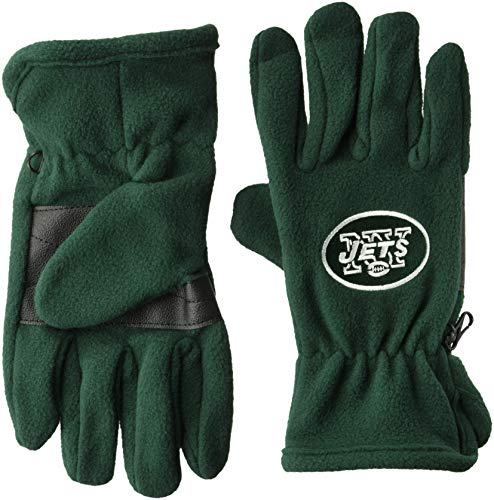 OTS NFL New York Jets Male Fleece Gloves, Dark Green, Men's