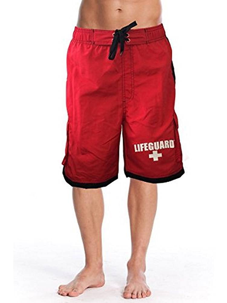 LIFEGUARD Officially Licensed Red Men's Board Shorts Swim Trunks with Side Pocket, Men and Boys, Great for Beach & Pool MS1