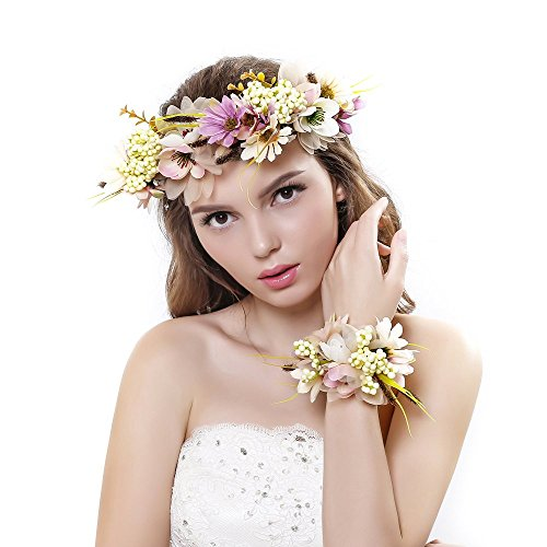 2pc/set Flower Wreath Headband with Floral Wrist Band for Wedding Festivals ()