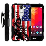 TurtleArmor | Compatible for LG K8 Case | LG Escape 3 Case | LG Phoenix 2 Case [Hyper Shock] Rugged Hybrid Hard Shell Kickstand Fitted Holster Clip Military War Robot Android Design - American Soldier