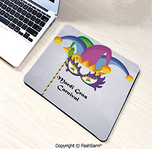 Desk Mat Mouse Pad Mardi Gras Carnival Inscription with Traditional Party Icons Clown Costume Hat Decorative for Office(W7.8xL9.45) -