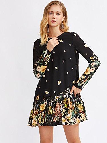 e3577fe54c3 Floerns Women s Floral Print Long Sleeve Drop Waist Dress