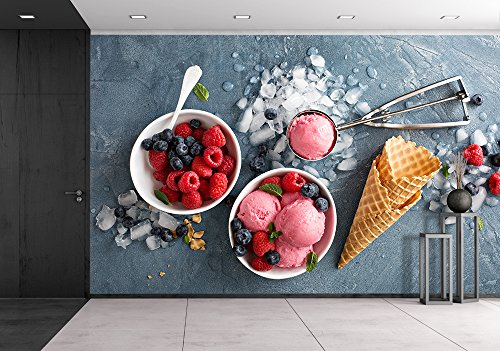 Raspberry Ice Cream in White Bowl Overhead Shot