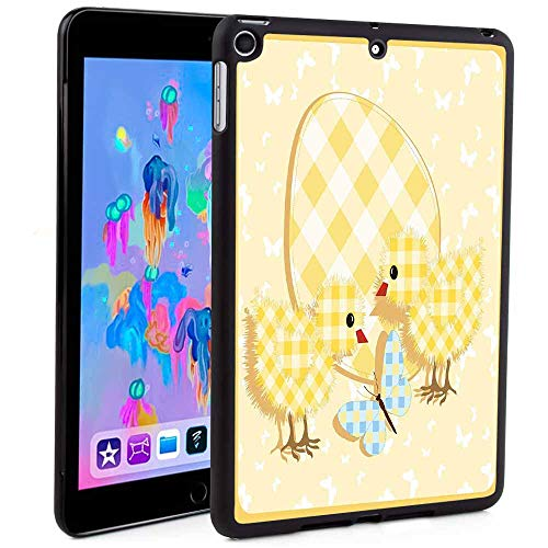 iPad Mini 5 2019 Case with Pencil Holder,Abstract Chick Design with Plaid Pattern Butterfly Giant Egg Funny PrintAuto Sleep/Wake Feature for iPad Mini 5th Generation 2019(Custom Pattern)