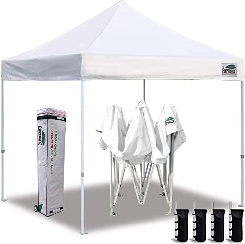Eurmax 10 x10 Ez Pop Up Canopy Tent Commercial Instant Canopies with Heavy Duty Roller Bag,Bonus 4 Canopy Sand Bags White