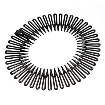 Black Plastic Stretch Sport Hair Band Full Circle Flexible Comb Teeth  Headband Clip 1ae1b6af6d9