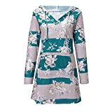 YANG-YI Womens Tops Clearance Floral V Neck Long Sleeve Casual Tunic Hoodie Pullover Sweatshirt