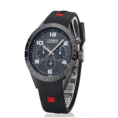 Tidoo Watches Mens Sports Wrist Watch Japaneses Quartz Movement Staintless Steel Black Case Black Analog Dial Black Silicone (Dial Black Silicone)