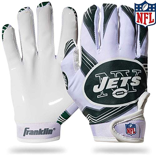 NFL New York Jets Youth Receiver Gloves,White,Medium