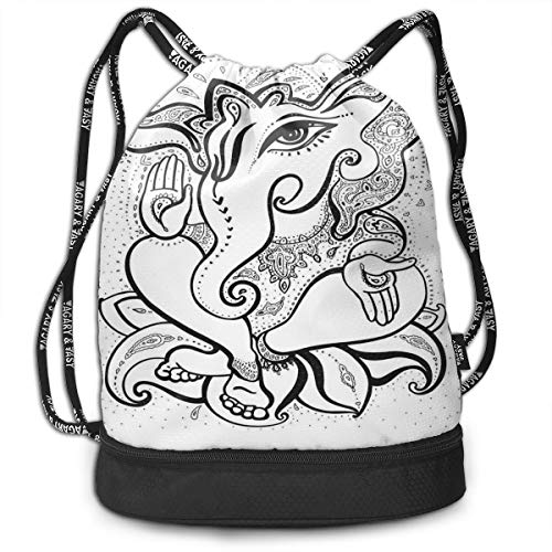 Drawstring Backpack bags, Spiritual Elephant With Big Eyes Paisley Crown And Oriental Symbolism Of Life]()