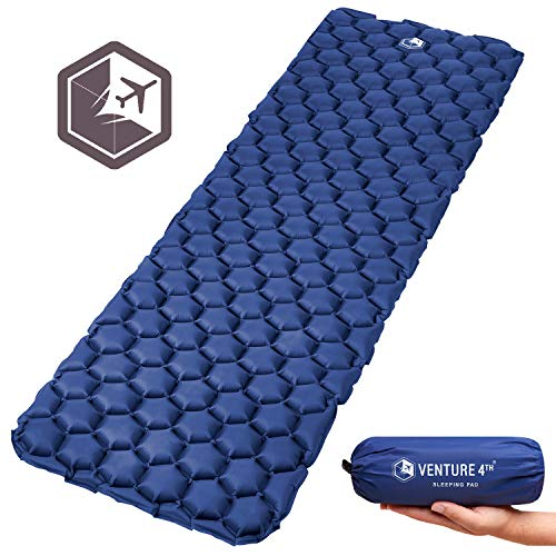 VENTURE 4TH Ultralight Sleeping Pad Lightweight, Compact, Durable, Tear Resistant, Supportive and Comfy | for Camping, Traveling, Lounging, Sleeping Bags, Hammocks, Hiking and More | Dark Blue
