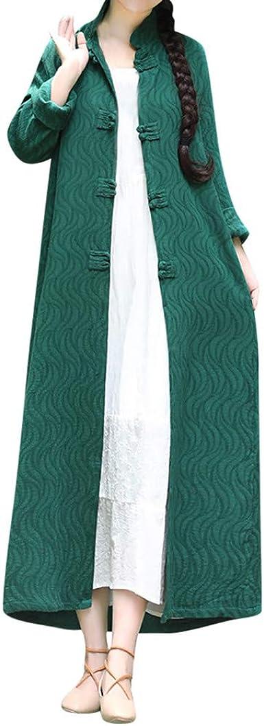 AOJIAN Women Jacket Long Sleeve Outwear Solid Linen Maxi Long Sweaters Cardigan Coat