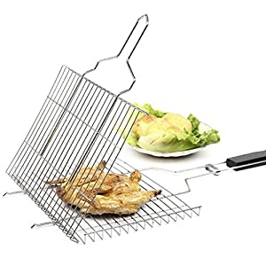 Misscindy Portable BBQ Grilling Basket, 430 Stainless Steel Grill Basket with Removable Wood Handle for Vegetable Fish Shrimp and Many Other Food for Kitchen Outdoor