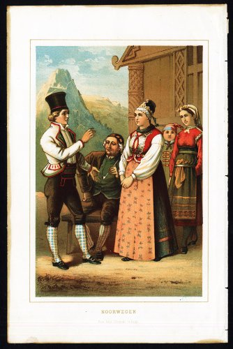 1880's Ladies Costume (Antique Costume Print-NORWAY-NORWEGIAN MEN AND WOMEN-1880)