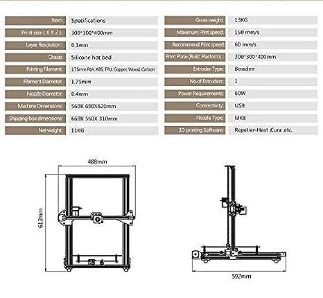 TEVO Tornado 3D Printer, 95% Assembled Aluminium Extrusion DIY Printer 3D Printing impresora 3D Printer with Extruder for PLA, ABS, TPU, Copper, Wood, ...