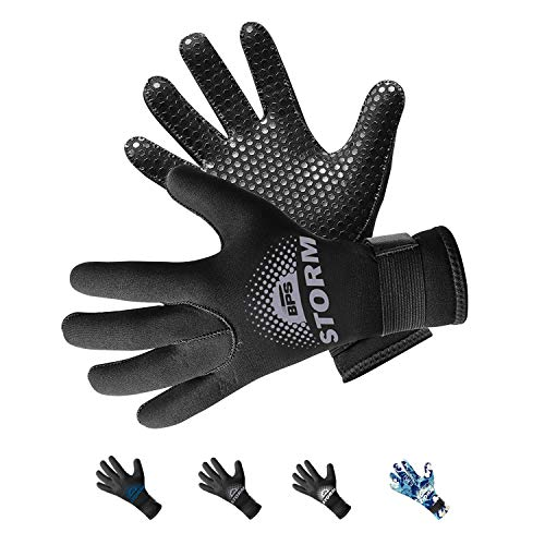 BPS 5mm Dive Gloves - Thermal Diving Gloves Surfing, Water Sports Adjustable Strap Glued and Stitched Seams Textured Palm Grip Comfort Protection Antislip Wetsuit - Small ()