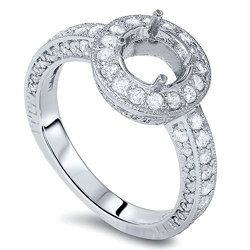 Diamond Antique Engagement Ring Setting (1ct Diamond Engagement Antique 14K White Gold Ring Setting)