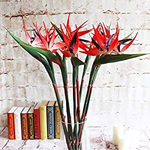 MARJON Flowers 32.5 Inch Large Elegant Bird of Paradise Artificial Flower for Home Office 3 Pcs (Red) 59