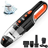 Portable Handheld Vacuum, ZesGood 7000PA Powerful Suction Rechargeable Cordless Hand Vacuum Cleaner with 120W Cyclonic Motor for Home Car Pet Hair Cleaning, Hand Held Vac for Wet Dry Using - Black