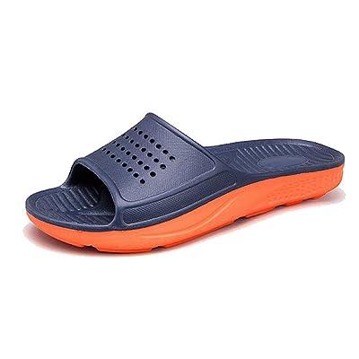WODEBUY Men's Shower Sandals Antislip Fast Dry Flilp Flop Flats Bathroom and Gym Slider Sandals for Men (12, DarkBlue-01) | Sport Sandals & Slides