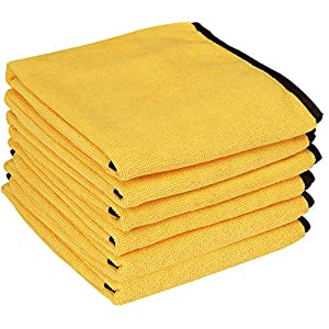 Utopia Towels Professional Grade Premium Microfiber Towel (6 Pack, 16 x 24 Inches, Gold with Black Silk Edges) - Highly Absorbent Ideal for Cars and Vehicles