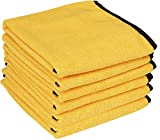 dry car wash towel - Utopia Towels Professional Grade Premium Microfiber Towel (6 Pack, 16 x 24 Inches, Gold with Black Silk Edges) - Highly Absorbent Ideal for Cars and Vehicles