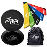 MTSF Resistance Bands Exercise Loops - Set of 5 | 12-inch Workout Bands for Home Fitness, Stretching, Physical Therapy + Dual Sided Exercise Disc for Enhancing Coordination of Body